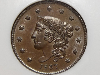1837 Large Cent MS62 Brown NGC